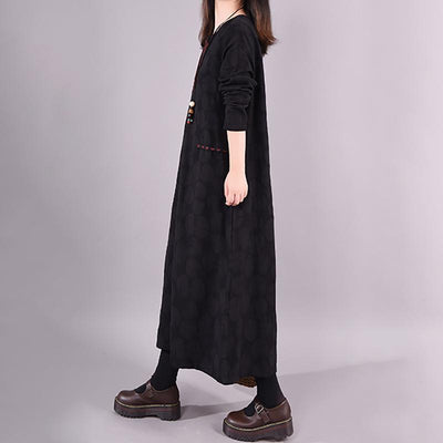 Dots Embroidery V-Neck Pullover Casual Loose Dress