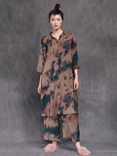 LOOSE SILK PRINTED 3/4 SLEEVES LONG BLOUSES&WIDE LEG PANTS SUITS