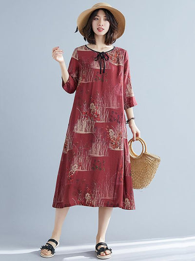 LOOSE PLUS SIZE VINTAGE FRESH MIDI DRESSES