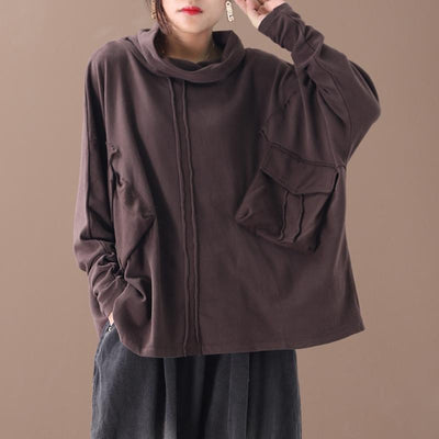 Buykud Casual Irregular Pure Color Turtleneck Blouse