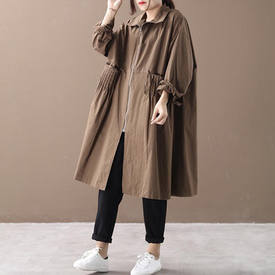 Buykud Literary Casual Pleated Pockets Zipper Trench Coat
