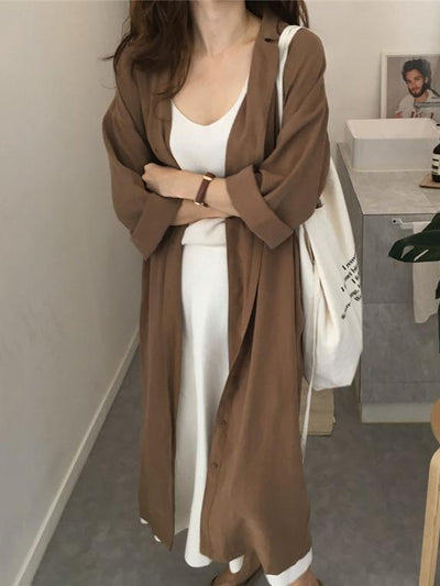 LOOSE SOFT LAPEL LONG COVER-UP