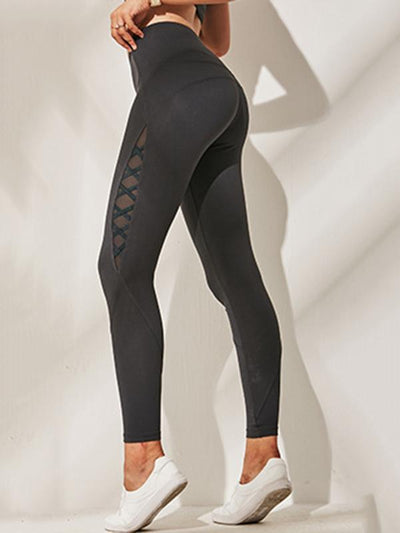 Wide Waistband Mesh Sports Leggings