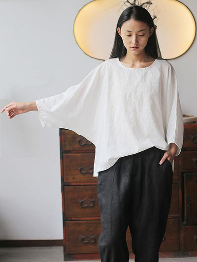 Loose Simple Ramie Cotton Blouses