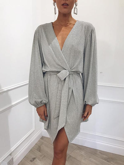 Ruffled Waistband Long Sleeve Dress
