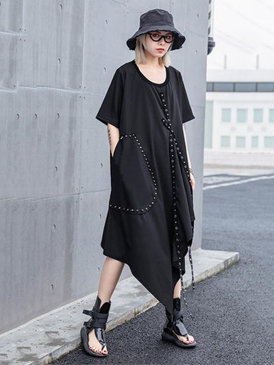 Black Rivet Split-side Shirt Dress