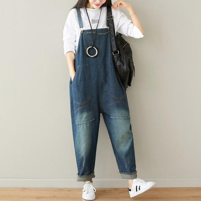 Buykud Natural Burrs Solid Color Casual Loose Jumpsuit