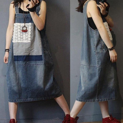 Denim Spliced Patchwork Washed Suspenders Dress
