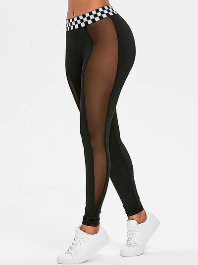 Fashion Contrast Waistband Mesh Sports Leggings