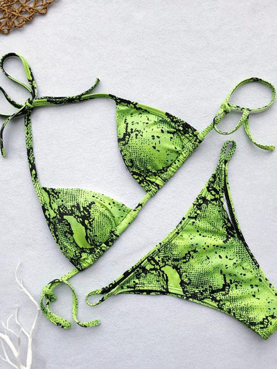 Lace-up Snakeskin Print Scrunch Bikini Set