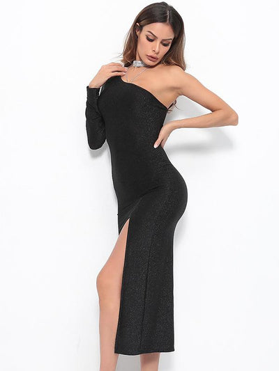 Slanted Shoulder Solid Color Irregular Slit Long Sleeves Dress