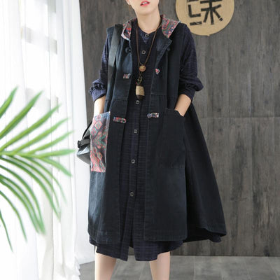 Buykud Patchwork Printed Casual Loose Hooded Coat