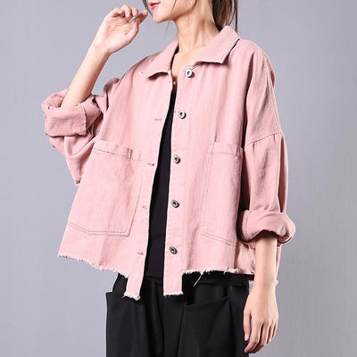 Buykud Casual Pure Color Burr Denim Jacket