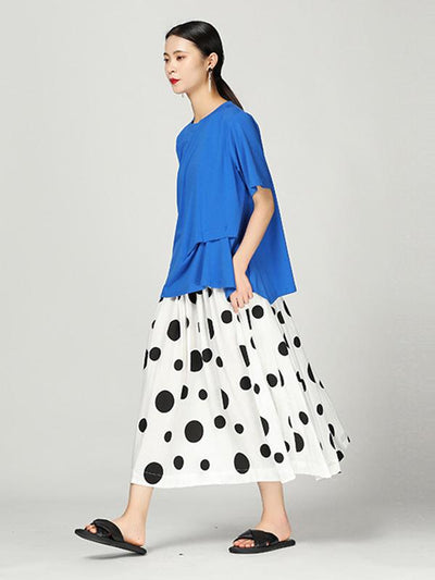 Retro Polka-dot Cotton Skirt