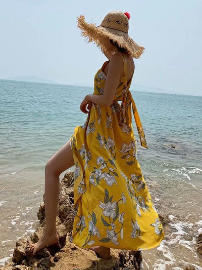 Printed Backless Split-front Sleeveless Maxi Dress