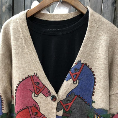 Buykud Cartoon Horse Printed V-neck Knitted Coat