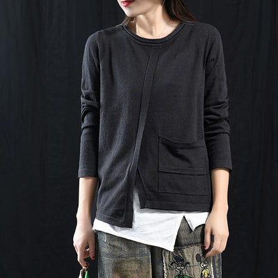 Buykud Solid Color Single Pocket Round Neck Casual Blouse