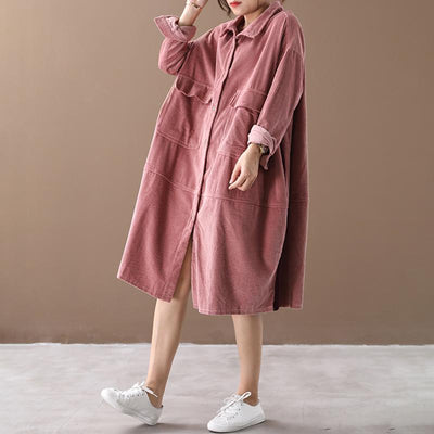 Buykud Pure Color Side Stripe Comfortable Loose Dress
