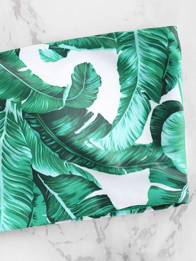Fahshion Bandeau Leaves Printed Bikinis Swimwear