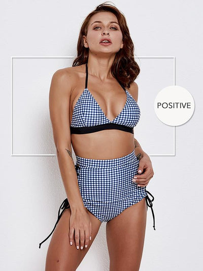 Blue Plaid Halter-neck Bikinis Swimwear