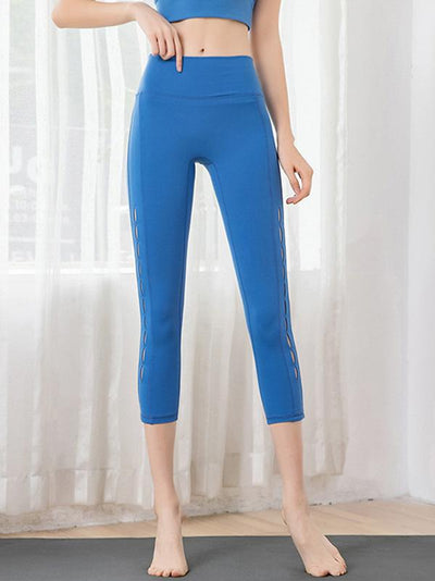 Wide Waistband Perforated Yoga Leggings