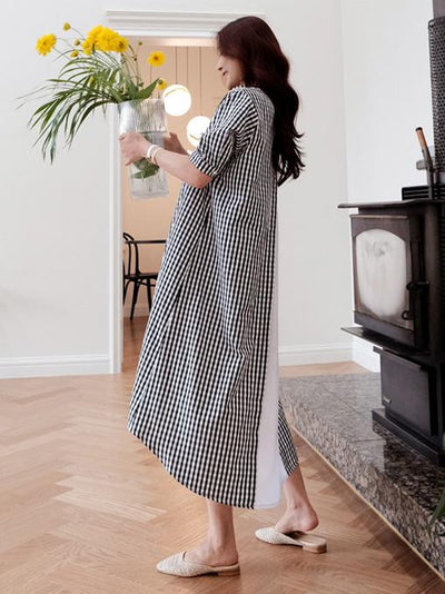 SUMMER PLAID SPLIT-JOINT STAND-COLLAR LONG DRESS