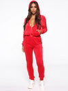 Solid Plush Zipper Hoodies&Pants Sports Suits