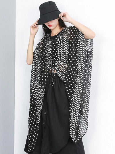 Loose Batwing Polk-dot T-shirt