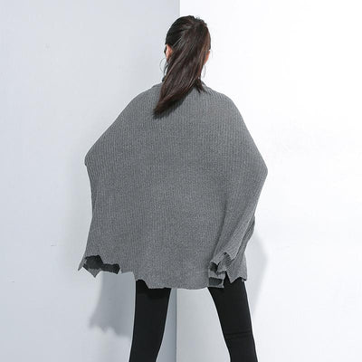 Buykud Turtleneck Personality Irregular Hem Loose Sweater