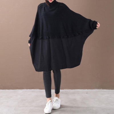 Buykud Batwing Sleeve Spliced Loose Warm Shirt