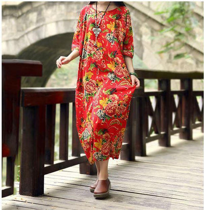 Casual Loose Fitting Cotton and Linen Long Dress