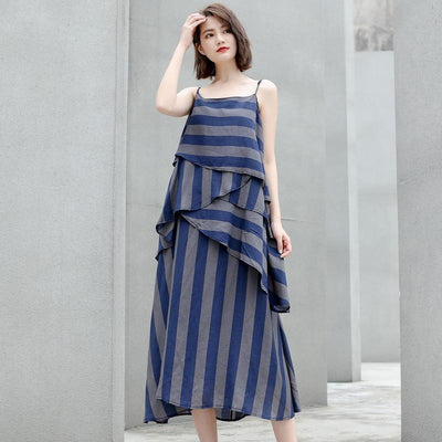 Cotton Vintage Striped Loose Slip Dresses