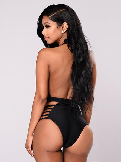 Plain Black Lace-up One-piece Swimwear