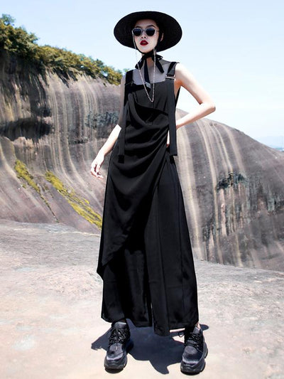 Light Ruffled Solid Wide Leg Pants Jumpsuits