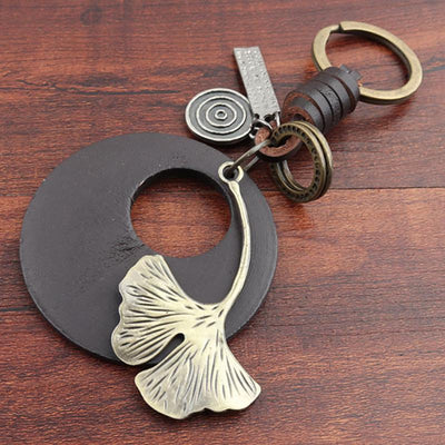 Buykud Ginkgo Leaf Simple Personality Retro Car Key Rain