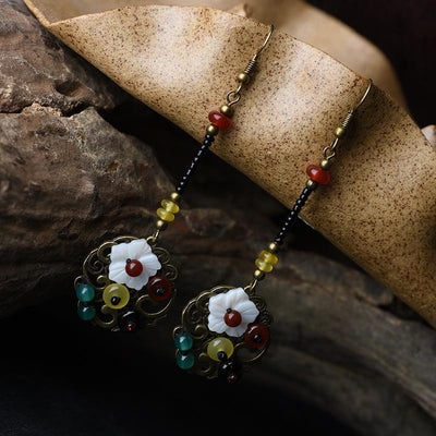 Buykud Fashion Retro Shell Flower Agate Earrings