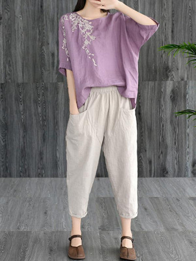 Loose Embroidered Cotton T-shirt