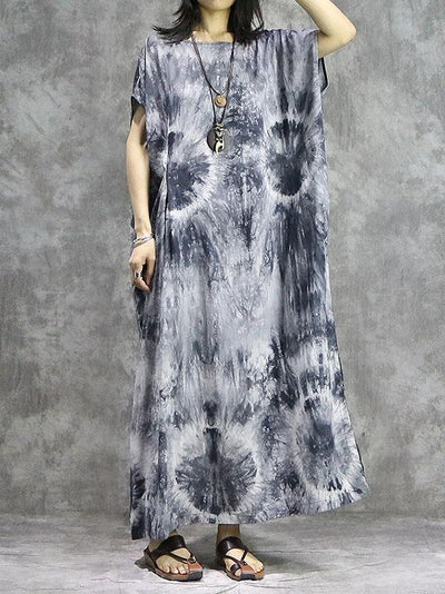 Silk Linen Tie-dyed Long Dress