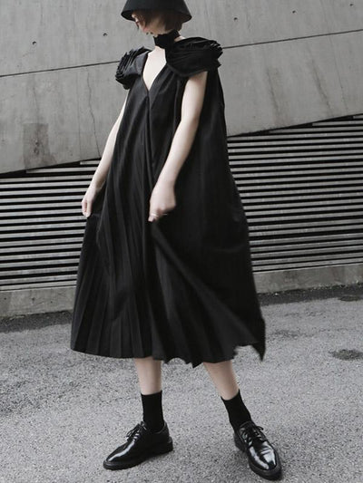 Elegant V-neck Big Hem Long Dress