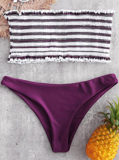 Strapless Draped Striped Top With Solid Panty Bikini Set