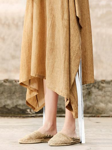 Ginger Yellow Raised Bands Bow-embellished Wide Sleeves Long Dress