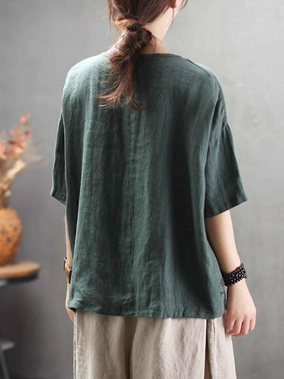 Vintage Embroidered Round-neck Solid T-shirt