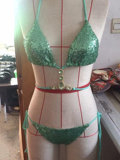 Sequins Decorated Rhinestone Bikinis Swimwear