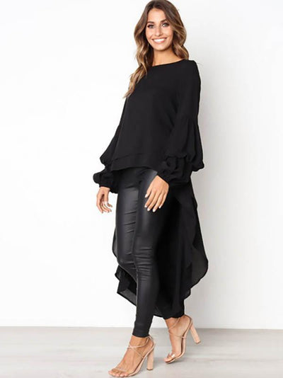 Asymmetric Flared Sleeves Swallowtail Dress