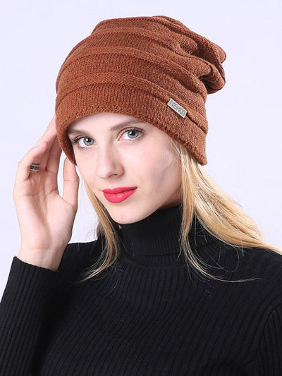 Solid Color Knitting With Plush Hat Accessories