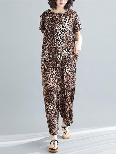 PLUS SIZE LOOSE LEOPARD FASHION SUITS