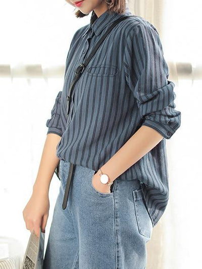 LOOSE STRIPES PREPPY STYLE BLOUSE TOP