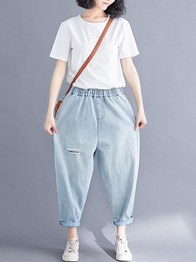 Loose Jean Ripped Trousers