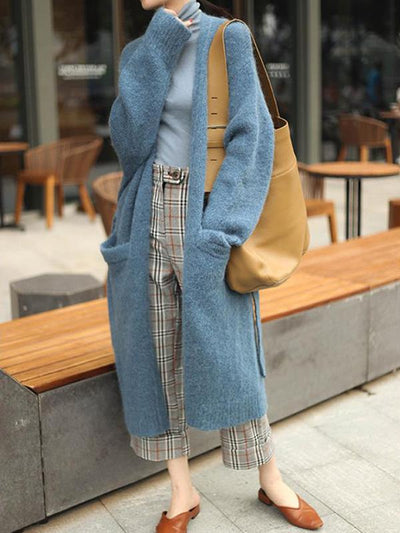 LACE-UP WOOLEN LONG SWEATER OUTWEAR