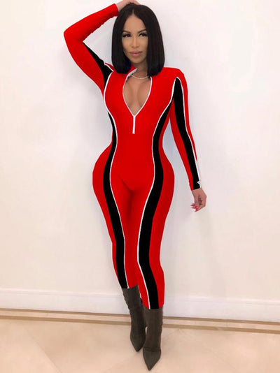 Fashion Casual Color-Block Sports Jumpsuits